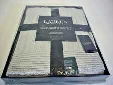 Lauren Ralph Lauren Gray Cotton Ringspun Knit Throw Blanket, NWT
