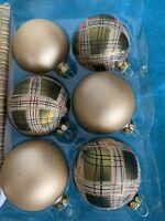 NIB Country Living Vintage Christmas Tree Holiday Glass Ornaments 6 Gold Plaid
