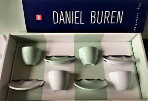 illy Art collection 2004 Daniel Buren - Bianco Verde 4 espresso cups set