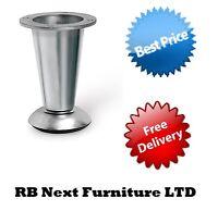 4x Adjustable Leg Aluminium+Steel Satin Chrome Plinth for Furniture Sofa Cabinet