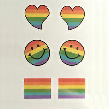 Rainbow Orgoglio CUORE Smiley BANDIERA Tatuaggio Temporaneo Body Art