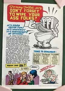 "1980s Print of 1971 ""Tommy Toilet Sez"" by Robert Crumb Poster 15-1/2"" x 22"""
