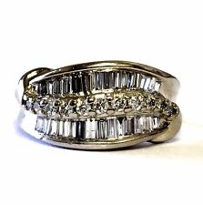 14k white gold ladies  womens 1.34ct diamond wedding band 7.2g ring baguette