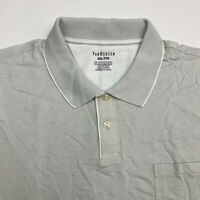 Van Heusen Golf Polo Shirt Men's 2XL XXL Short Sleeve Gray Striped Cotton Blend