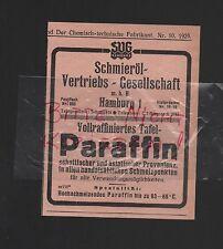 HAMBURG, Werbung 1929, Schmieröl-Vertriebs-GmbH Tafel-Paraffin