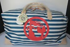 NWT Spartina 449 Navy Stripe Globetrotter Travel Duffle Weekender Bag Poly $145