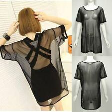 New Sexy Women Mesh Sheer Party Tops Shirt Dress Bikini Beach Cover Up Swimwear