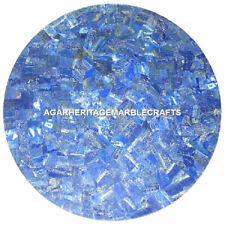 "18"" Exclusive Marble Coffee Table Top Lapis Lazuli Mosaic Inlay Outdoor Decor"