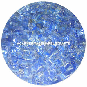 """18"""" Exclusive Marble Coffee Table Top Lapis Lazuli Mosaic Inlay Outdoor Decor"""