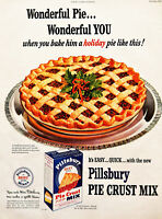 Vtg 1948 Pillsbury pie crust mix Holiday pie retro advertisement print ad