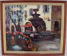 """Superbe huile sig P.DUMONT """"fontaine a st Paul de Vence"""