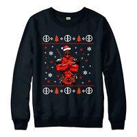 Deadpool Christmas Jumper, Marvel Comics Xmas Festive Gift Adults & Kids Jumper
