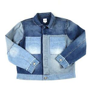 Kensie Patchwork Denim Jean Jacket Size M Blue Button Down Cotton Blend Stretch