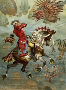 """stunning oil painting handpainted on canvas""""A man riding a horse,fishes"""" NO479"""