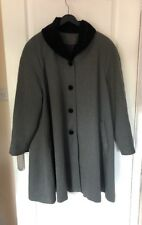 Bhs Size 10 Vintage Ladies Swing Coat Black With Faux Fur Collar