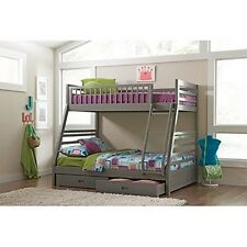Coaster 460182 Grey Twin over Full Bunk Bed with Storage Drawers and Solid Wood