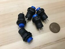 5 Pieces BLUE Latching 12mm push button Switch round button 12v on off pin C20
