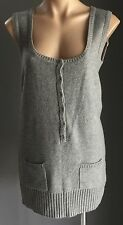 Unique MISS ME Sleeveless Grey Knit Tunic Dress/Top Size M (10)
