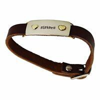 Sisters Buckle Bracelet - Adjustable Leather Strap - Hearts Best Friends Family