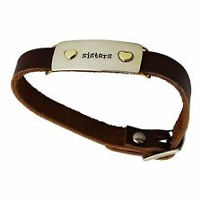 Sisters Buckle Bracelet - Adjustable Leather Strap - Hearts Best Friends Family