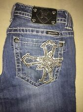 Miss Me Jeans... Boot Cut... Size 29... Rose w/Cross Design