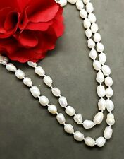 Vintage Real Baroque Cultured Pearl Knotted Necklace Large Long