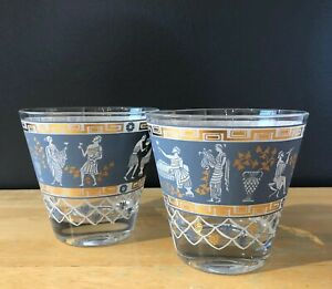 Vintage Pair Cera Jeanette Etruscan Frieze MCM Rocks Glasses 22k Gold Jasperware
