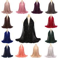 Women's Elegant Chiffon Scarf Hijab with Studs Plain Muslim Shawl Wrap Scarves
