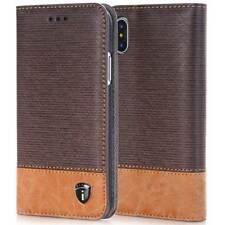 iPhone 8, 7, 6, 5 Tasche Handy Hülle Flip Case Kunstleder Cover Etui Braun Blau