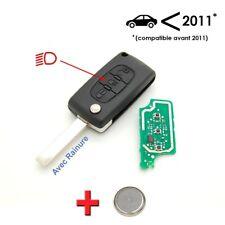 Clé + électronique à programmer Peugeot 207 307 3 bouton phare avec rainure