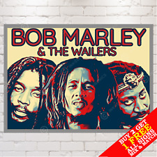 More details for metal sign - bob marley & wailers reggae music poster, wall art & home decor