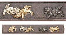 Antique Japanese Kozuka Shi Shi Foo Dogs Nanako Samurai Sword Fitting Koshirae
