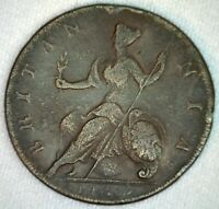 1729 Colonial Great Britain British Half Penny Copper Coin 1/2c  UK George II