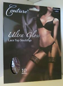 **SALE** Ultra Gloss Large 10 Denier Barely Black Lace Top Stockings. Free Post