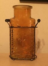Glass Bottle/Vase With Wire Stand NEW