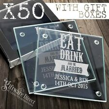 50 x Personalised Engraved Glass Wedding Coasters Favour Bomboniere Gift Custom
