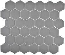 Mosaik Fliese Keramik dunkelgrau Hexagon dunkelgrau unglasiert WB11B-0213-R10