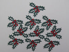 10 Holly Berry Diecuts,Forest Green,Red,Christmas Scrapbooks, Cards, Decorations