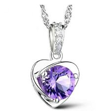 New 925 Sterling Silver Heart Pendant Necklace Chain Womens Jewellery UK