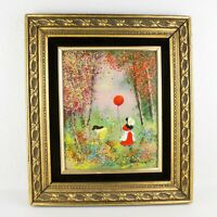Vintage Enamel On Copper Girl With Ballon Painting Signed JORDINE