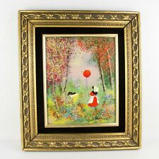 Vintage Enamel On Copper Girl With Ballon Painting Signed JORDINE