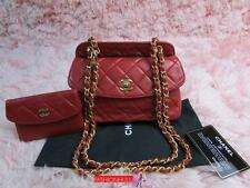 RARE CHANEL VINTAGE Red Lambskin Mini Flap Bag with Matching Pouch