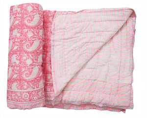 Indian Reversible Winter Cotton Quilt Blanket Hand Block Print Paisley Coverlet