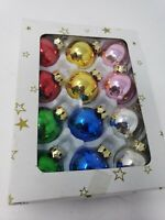 Vintage Glass Christmas Tree 12 Ornaments Boxes 30mm