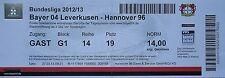 TICKET 2012/13 Bayer 04 Leverkusen - Hannover 96