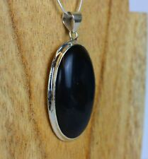 Black Obsidian Oval Pendant 925 Sterling Silver