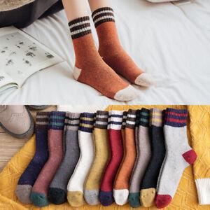 Woman's 2 Pairs Colorful Wool Warm Socks Stripped Fashion Long Tube Socks
