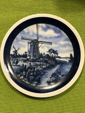 """Vintage Ter Steege BV Delft Blauw 7 1/2"""" Handdecorated Blue White  Plate Holland"""