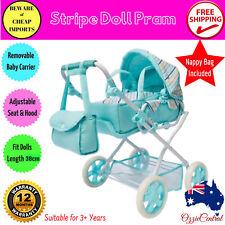 Doll Pram Girls Pretend Stroller Deluxe Adjustable Play Baby Carrier & Bag Set