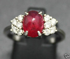 ** BAGUE ALLIANCE HAUTE JOAILLERIE  RUBIS CABOCHON DIAMANTS EN OR JAUNE 18K **